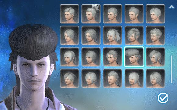 ヒューラン・ミッドランダー (女性) の髪型です。選択されているのはデフォルトの髪型です。
